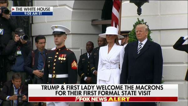 Wow watch first lady melania trump come out to greet french watch first lady melania trump come out to greet french president drop dead gorgeous m4hsunfo